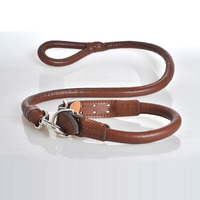 Medium / Large Dog Long Smooth PU Leather Training Leash Slip Lead Strap Adjustable Traction Collar