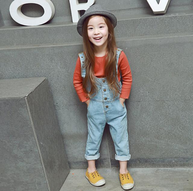 Nueva moda de verano 2016 niños del bebé lindo de los niños guardapolvos ocasionales marca denim jeans trajes al por menor envío gratis