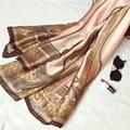 Марка Летние женщины шарф качество зимой и осенью шелковый шарф печати шали переносить длинные женский пашмины дамы украл рождество подарок