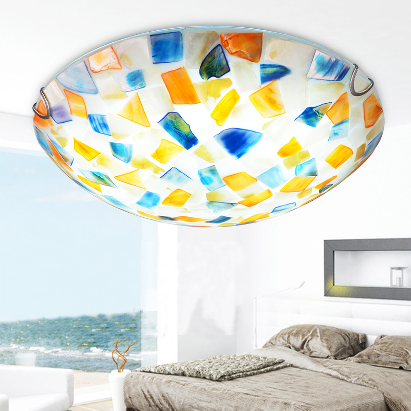 Tiffany pastoral Mediterranean ceiling lamp warm bedroom lamp pastoral corridor balcony creative shell Ceiling Lights DF139 tiffany mediterranean style peacock natural shell ceiling lights lustres night light led lamp floor bar home lighting
