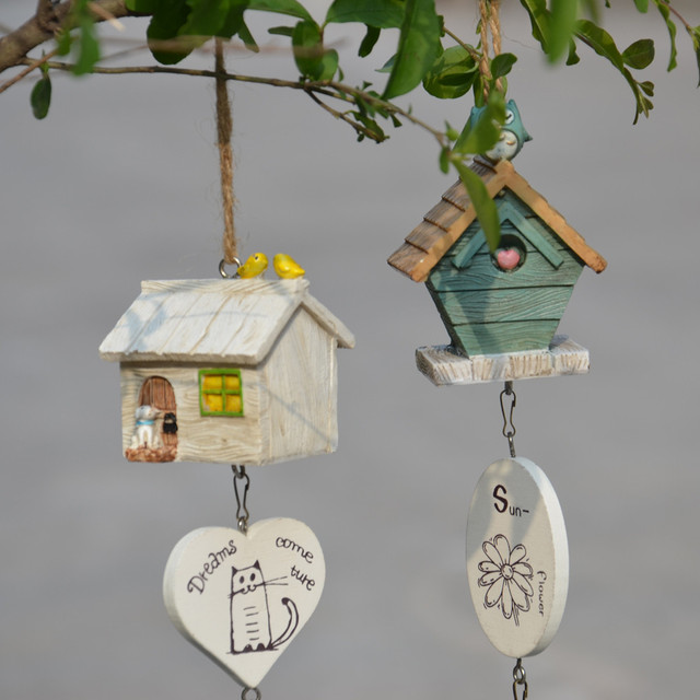 beautiful Creative Cabin Wind Chimes lovely House Hold Door Ornaments Mini Pendant Resin mini & beautiful Creative Cabin Wind Chimes lovely House Hold Door ...