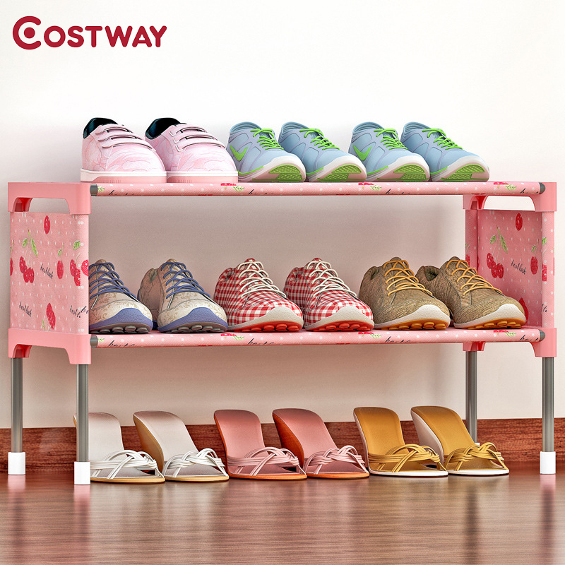 COSTWAY Non-woven 2 Tier Shoes Rack Shoe Cabinets Stand Shelf Shoes Organizer Living Room Bedroom Storage Furniture W0197