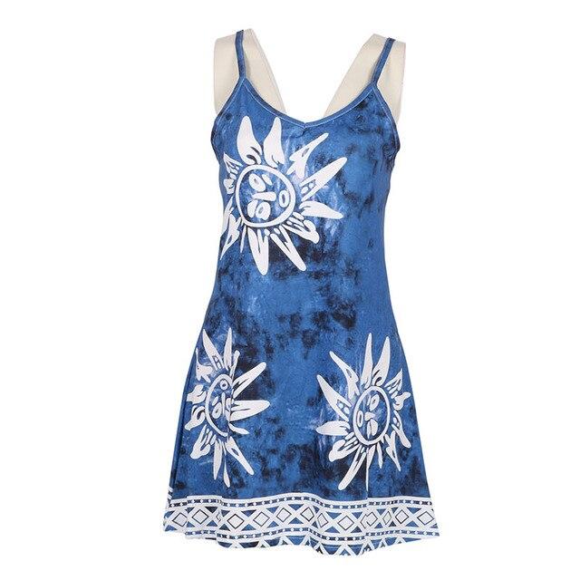 b64ff33fd46ca Women Sleeveless Sunflower Print Dress Floral Ethnic Casual Dresses Boho Sunflower  Dress