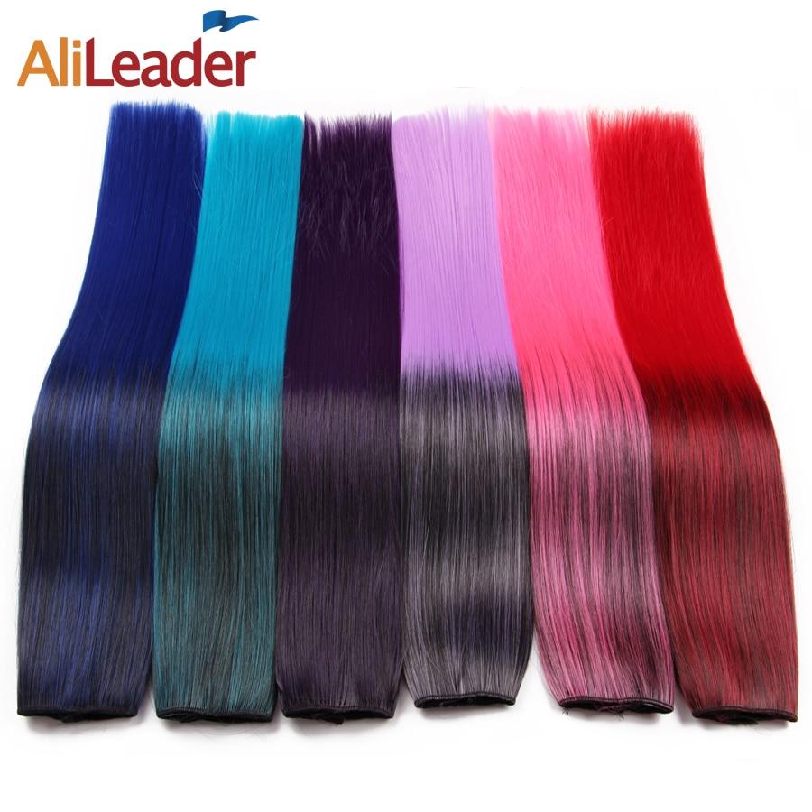 Alileader 60 cm Cheveux Kanekalon Synthétique Extension Droite Bleu Clip Dans Les Cheveux Extensions Faux Cheveux Pièces Pleine Tête Femmes Clip