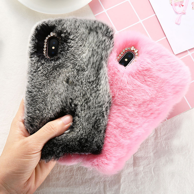 online store 88d84 e8f5b US $7.99 |Season Warm Charm Cool Fluffy Rabbit Fur Case Cover For iPhone XS  Max XR X 7 8 6 6S Plus-in Fitted Cases from Cellphones & ...