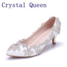 eee080f97 Женские туфли на каблуке 5 см, украшенные кристаллами, белые матовые  свадебные туфли-лодочки