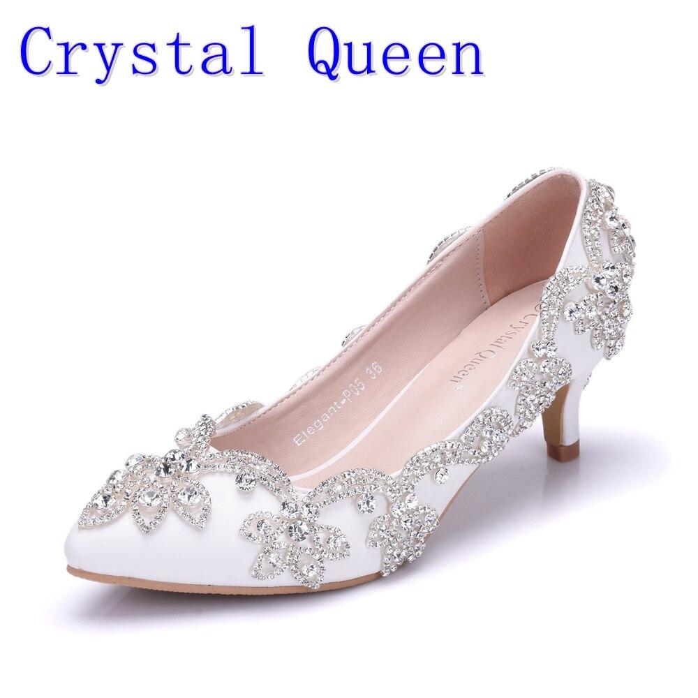 все цены на Crystal Queen 5CM Heel Women Shoes Dress Heels White Matte Rhinestone Crystal Wedding Pumps High heels Princess Pointed Toe 43
