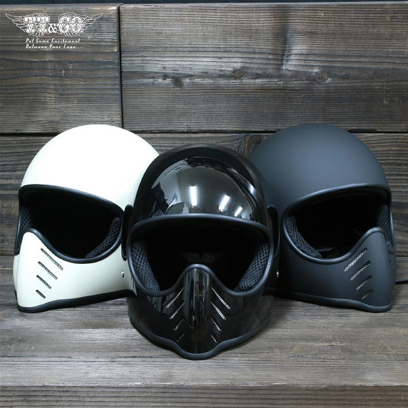 TT & CO Thompson Casco Del Motociclo del Fronte Pieno Corse Moto D'epoca Chopper Bike Caschi casco Crociera Spirito Rider Retro Fantasma Casco