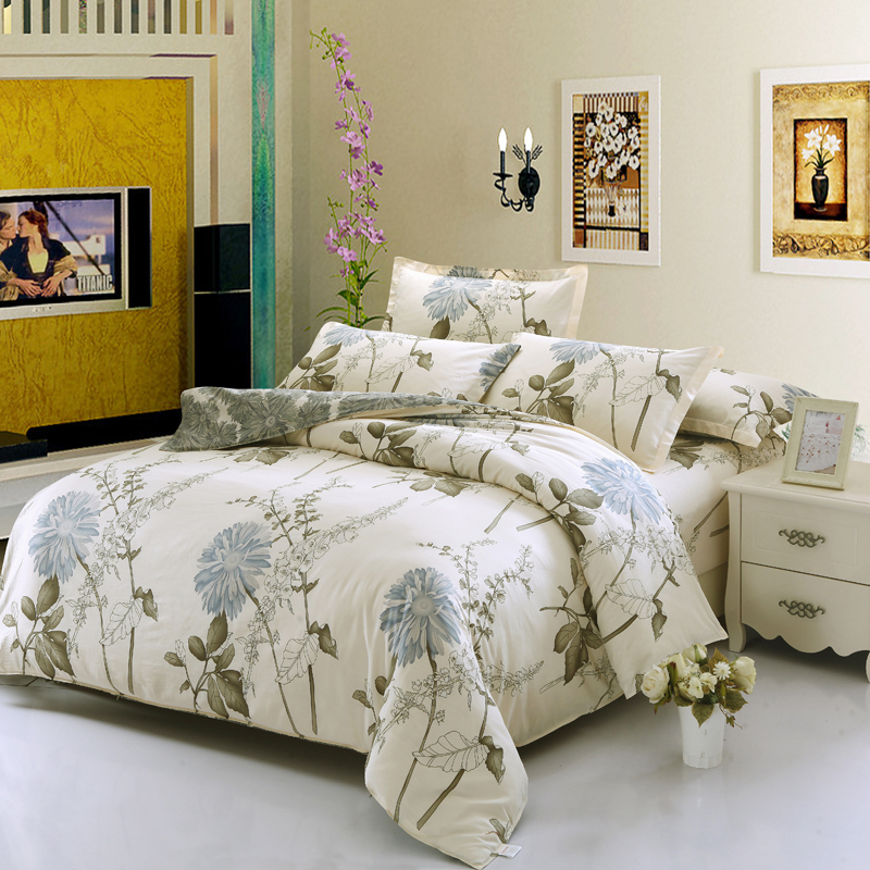 Chrysanthemum Bedding set imports 4/3pcs Comfortable Bed Sheets Duvet Cover quilt cover ivory-white bedclothes sell well Chrysanthemum Bedding set imports 4/3pcs Comfortable Bed Sheets Duvet Cover quilt cover ivory-white bedclothes sell well