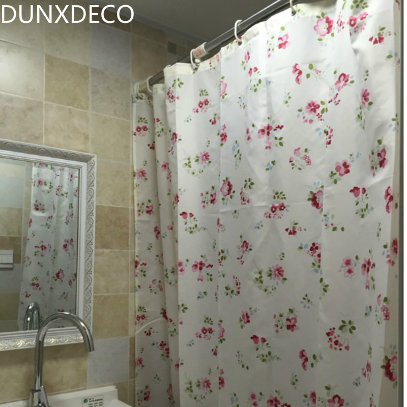 DUNXDECO Shower Curtain Bathroom Waterproof Cortinas Romantic Country Style  Little Flower Garden Print Polyester Fabric Rideau