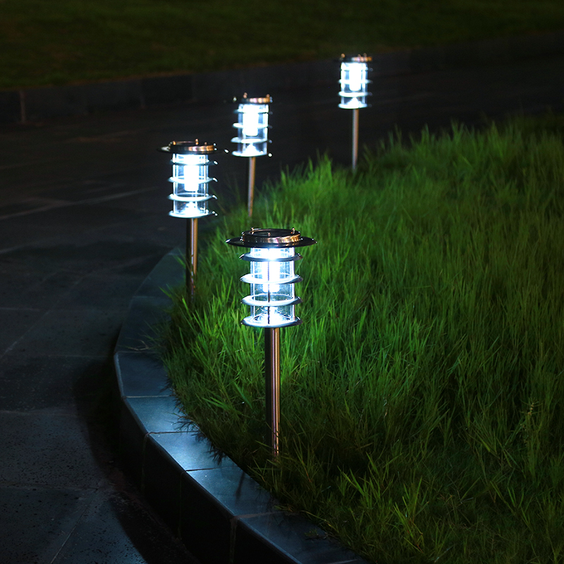 Открытый аварийного экономии нержавеющая сталь лампы газона Солнечный сад газон Нержавеющая сталь торшер