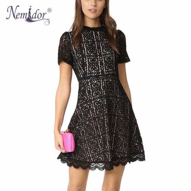 Nemidor Women Summer Elegant O-neck Short Sleeve Bridesmaid Retro Swing Dress Casual Slim Party A-line Lace Dress