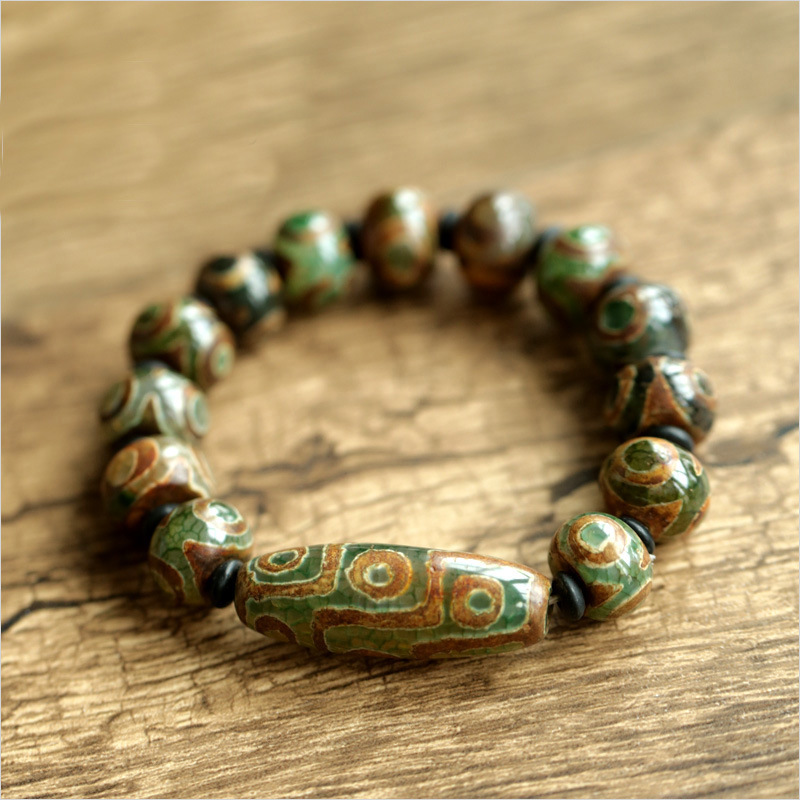 Real Natural Onyx Beaded Bracelets With Dzi Bead Evil Eye For Women Men Natural Stone Antique Retro Tibetan Buddhism Jewelry