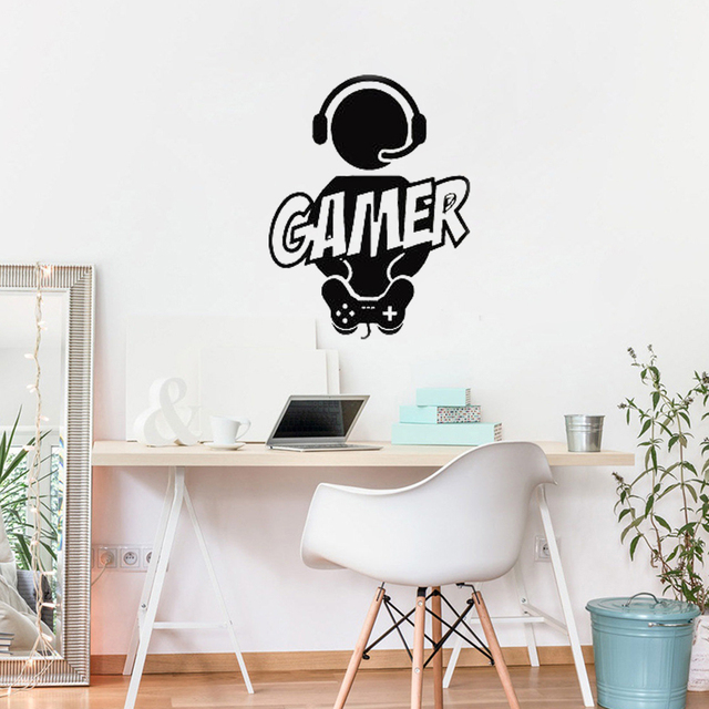 gamer quote wall sticker computer games room decal x box controller