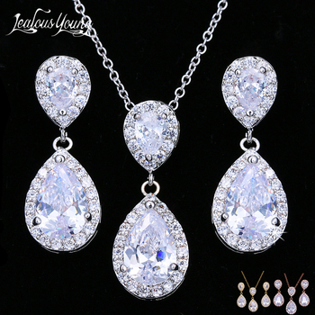 579da06849b5 Lujo doble gota de agua Zirconia joyería conjuntos plata Color nigeriano  conjunto de joyas para las mujeres moda india joyas de boda