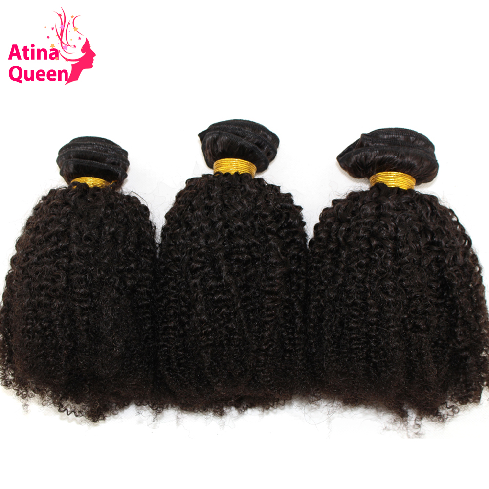 Mongolian Afro Kinky Curly Hair Weave Bundles 100 Remy Human Hair Extensions 3 Pieces Atina Queen