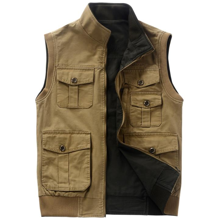 Outdoor cotton vest men Shooting fishing hunting vest both size wear multi-pockets stand collar army gilet homme waistcoat L-5XL summer outdoors tactical mesh multi pockets vest men breathable shooting director photographer hunting hiking vest big size 6xl