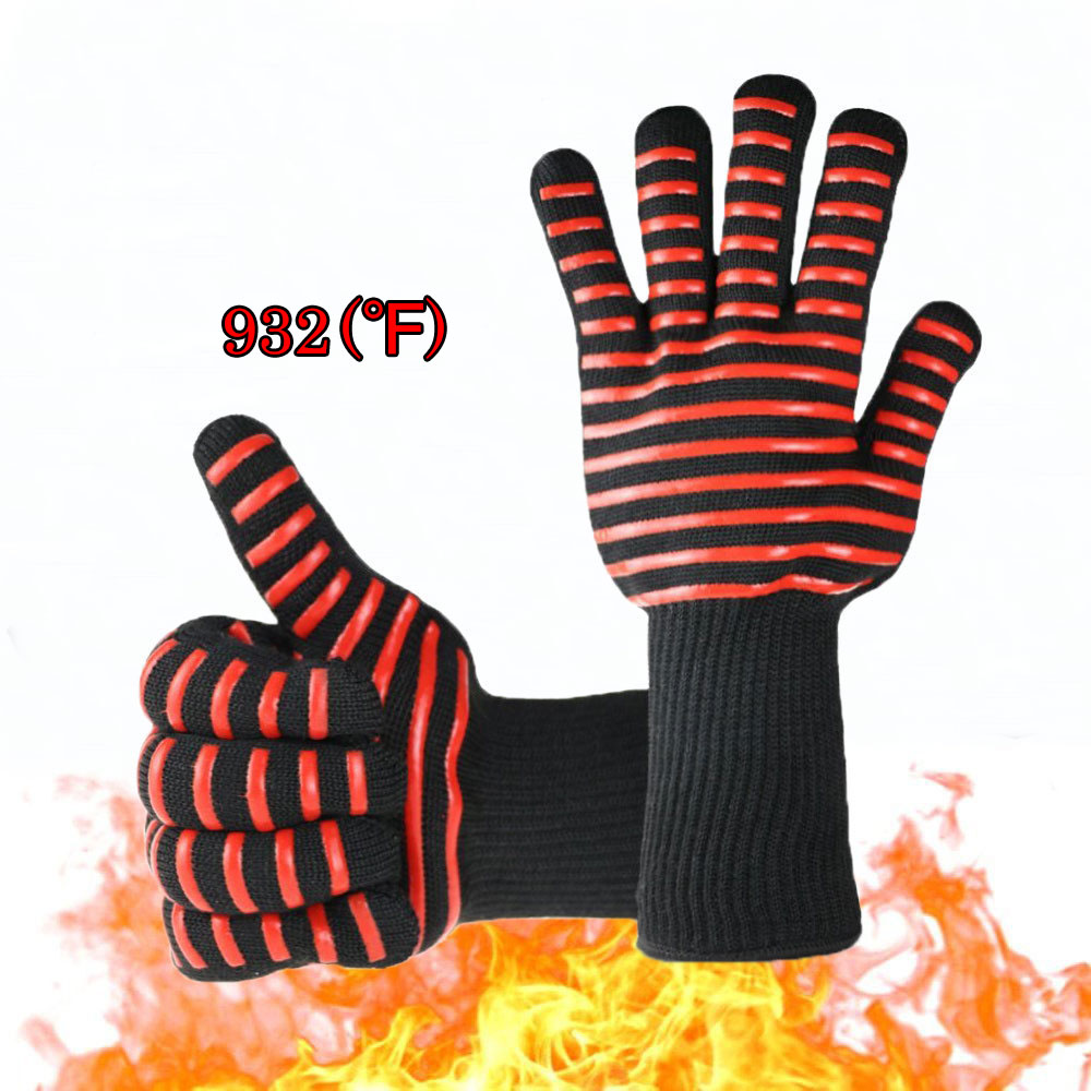 Kevlar Silicon Gloves Heat Resistant Thick Kitchen Oven BBQ Grill Cooking Safety Gloves Industrial Work Extreme Heat Protection 1pair 932f new design bbq grill red silicone gloves heat resistant bbq gloves microwave oven glovesen 407