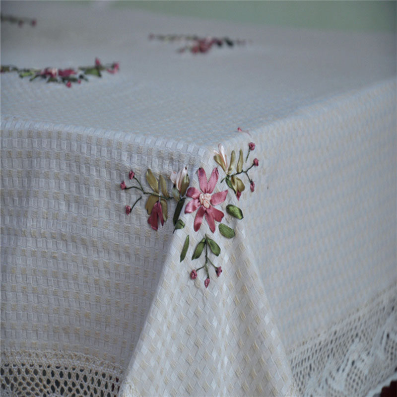 Perfect Ivory Chinese Handmade Embroidered Tablecloth Patterns Floral Home Decor  Dinning Table Decoration Rectangular Tablecloths(China