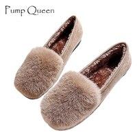 Women Shoes Flock Rabbit Fur Autumn Casual Loafers Round Toe Comfortable Short Plush Plus Size 43