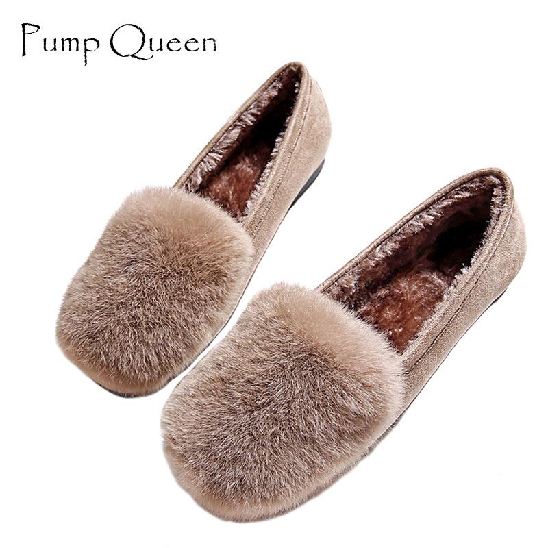 Women Shoes Flats Female Shoes Slip on Rabbit Fur Autumn Winter Casual Loafers Flock Short Plush Plus Size 43 Black Khaki Gray odetina 2017 new women pointed metal toe loafers women ballerina flats black ladies slip on flats plus size spring casual shoes