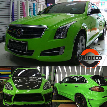 Apple Green GLOSSY Vinyl Wrap With 3 Layers - Light Green High Gloss Shiny Car Wraps Film Graphic air Free Size:1.52*20M/Roll