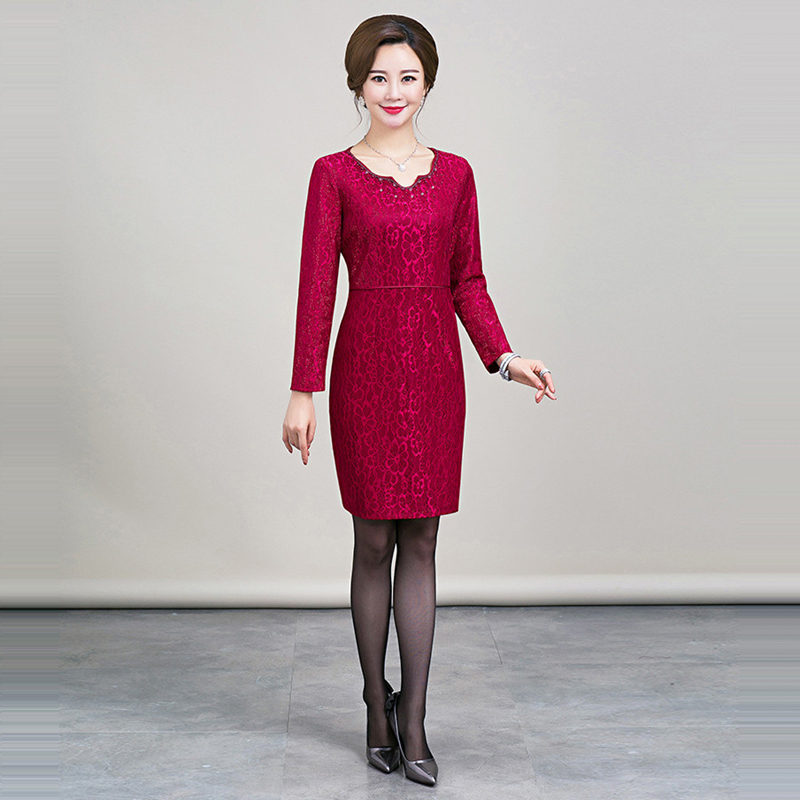 It's Yiiya Mother of the Bride Dresses Long Sleeve Plus Size Pearls Fashion Designer Office Lady Lace Elegant Mother Dress M037