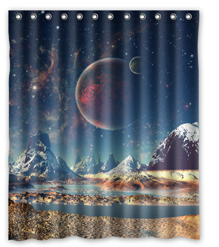 Bathroom polyester fabric planet universe galaxy printed for Fabric planet