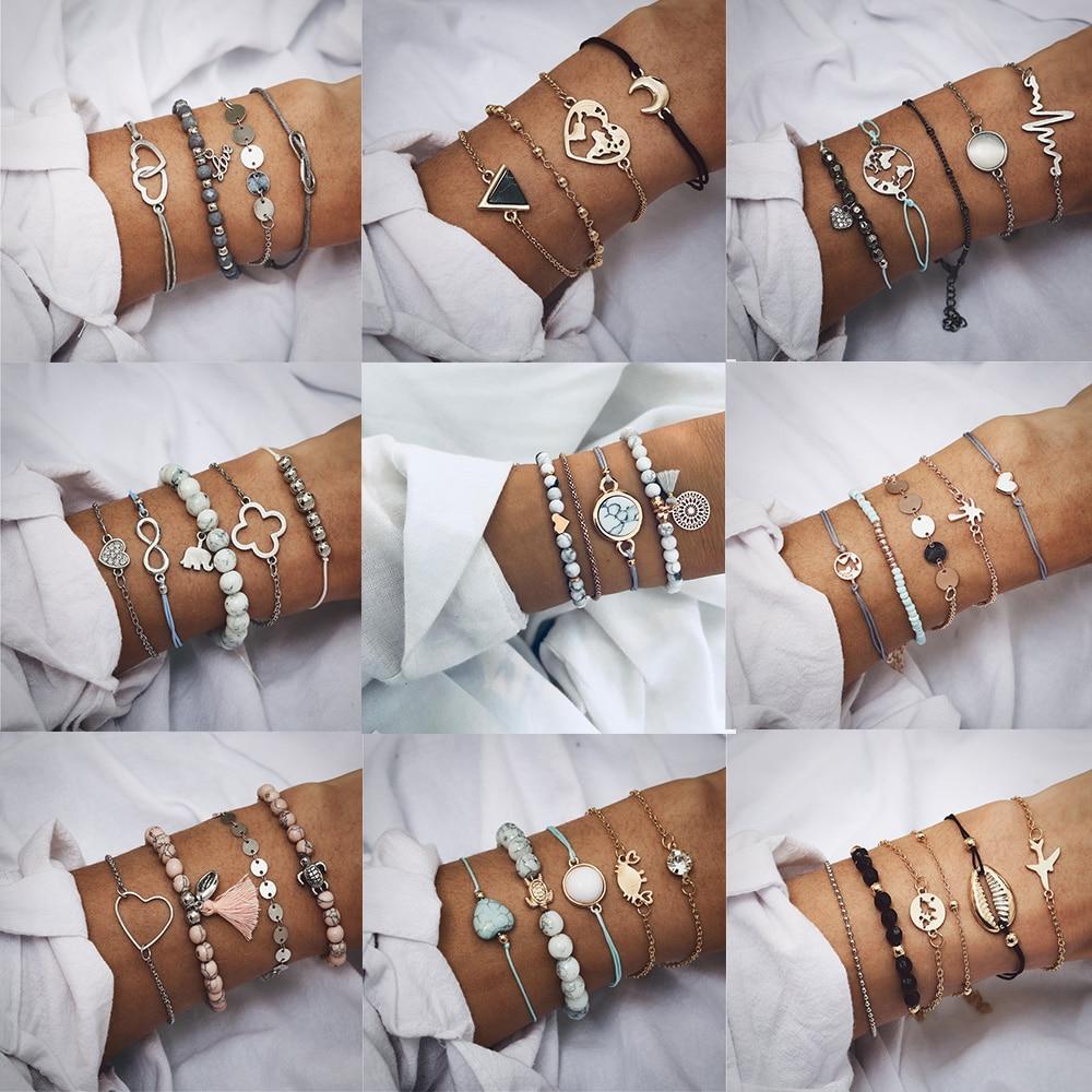 IF ME Bohemian Geometric Stone Bracelet Set for Women Vintage Rope Taseel Sequin Moon Map Elephant Heart Leaf Female Jewelry NEW