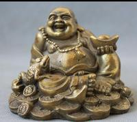 wang6710518++Chinese Folk Brass Happy Laugh Maitreya Buddha Golden Toad Spittor Wealth Statue