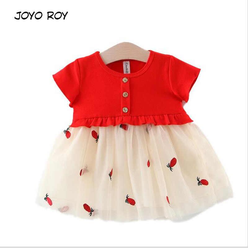 Joyo روي عارضة لطيف الوليد فساتين الفتيات جديد طفلة فستان شبكي القطن الرضع قصيرة الأكمام الملابس ل فتاة طباعة اللباس 0-1y