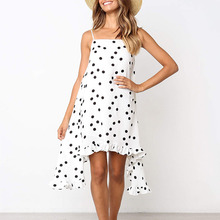 Polka dot print women dress Elegant bohemian summer dress Spaghetti strap holiday ruffled female sundress 2019 цена