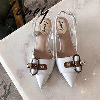 Loney Новый Высокое качество Натуральная кожа металлический деко женские туфли лодочки сексуальные женские туфли с заостренным носком на каб