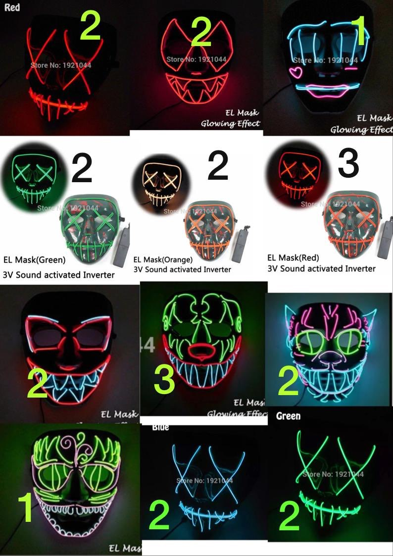 2018 Hot Rave Traje Adereços Máscara Do Partido Máscara de Produtos de Fio EL EL Neon Light Brilhante Do Produto para a Festa de Decoração DIY