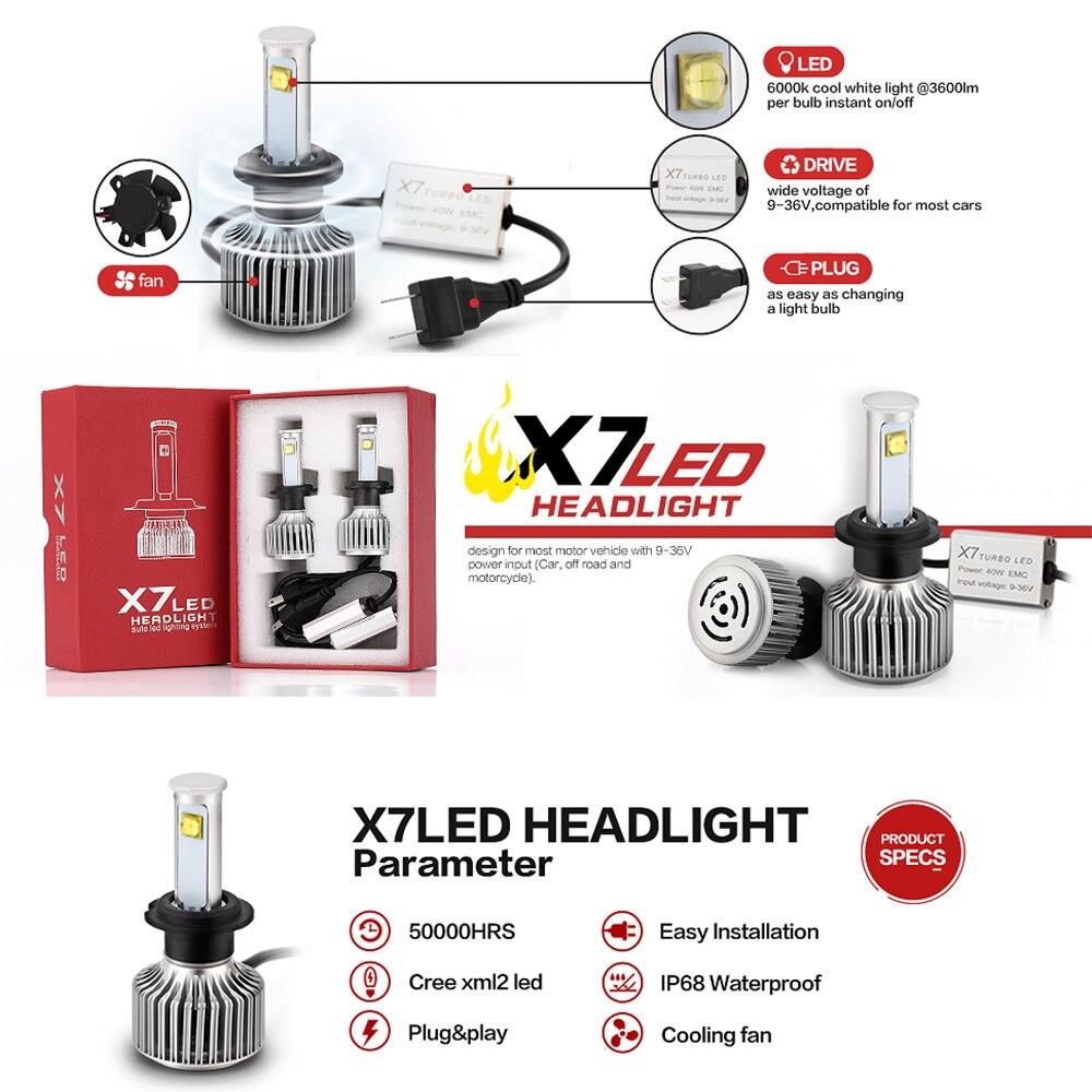 X7 H3 H13 H4 H1 H7 9005 9007 LED phare de voiture antibrouillard 80 W 7200LM 6000 K Auto phare avant ampoules conduite phares