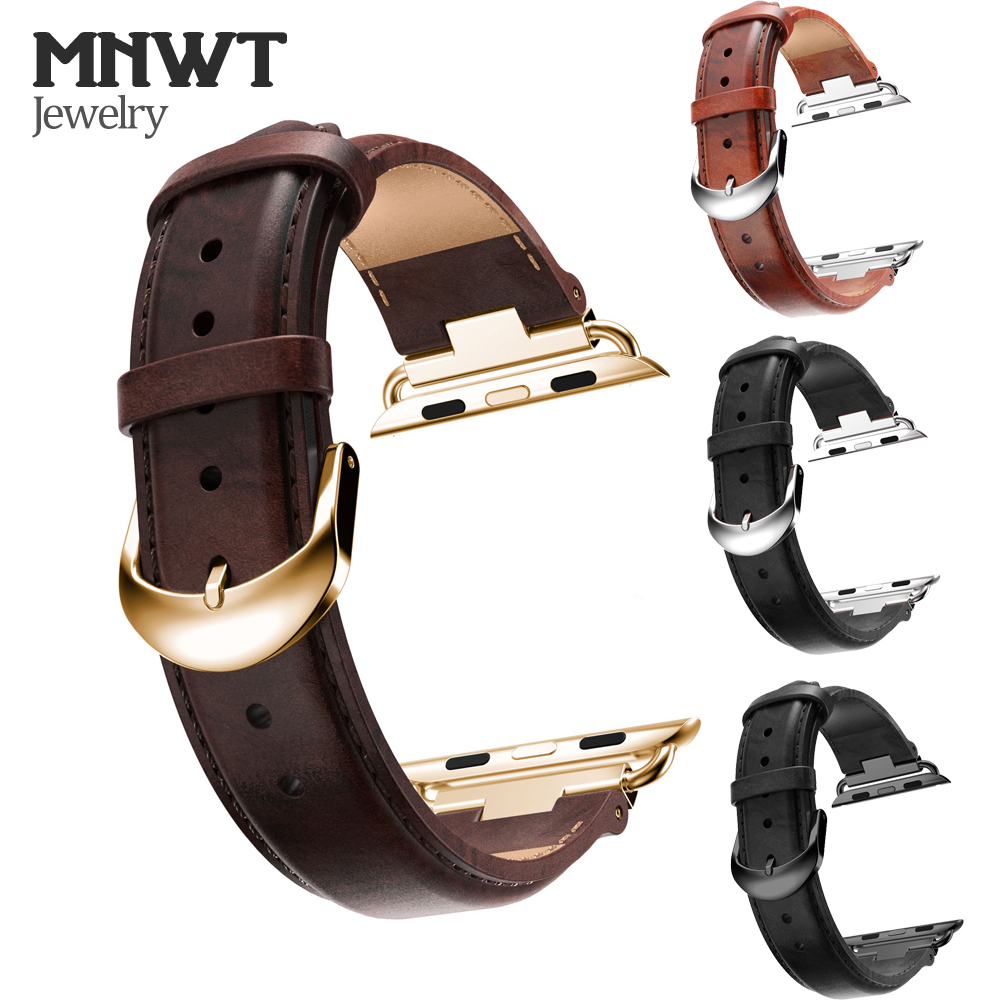 где купить MNWT luxury Genuine Leather Strap for Apple Watch Band 42mm 38mm Classic Vintage Wrist Belt Watchband for iwatch Series 3/2/1 дешево