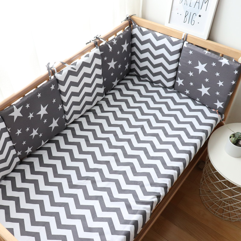 Baby Bumper For Newborns Nordic Thick Soft Bumpers In The Crib For Baby Room Decoration Crib Protector For Infant Cot 6 Pcs Set(China)