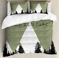 Adventure Duvet Cover Set Forest with Halftone Effect Hipster Typography Camping in Mountains Decorative 4 Piece Bedding Set