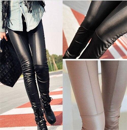 b9344ce1f728d8 Faux Leather Leggings for Women FitnessJeggings Pants Casual sport Leggings  sexy solid Large Size black,khaki Legging