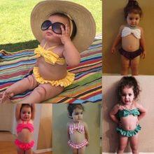 cute Kids toddler Girls Bikini Set bow knot Swimwear halter bandeau Swimsuit low waist tutu Beachwear off shoulder bathing suit