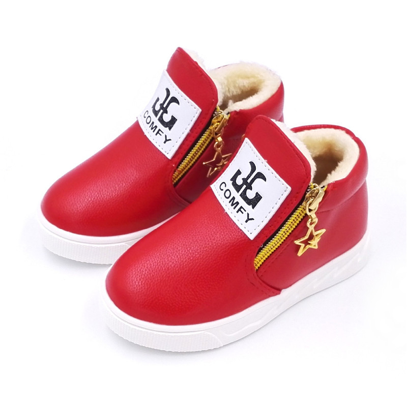 Unisex Children Winter Warm Plush Lined Ankle Boots Boys Girls Fashion Flat With Boots Baby Kids Pu Leather Shoes #14-A816
