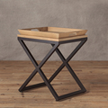 Mesa lateral mesa de café com bandeja de madeira