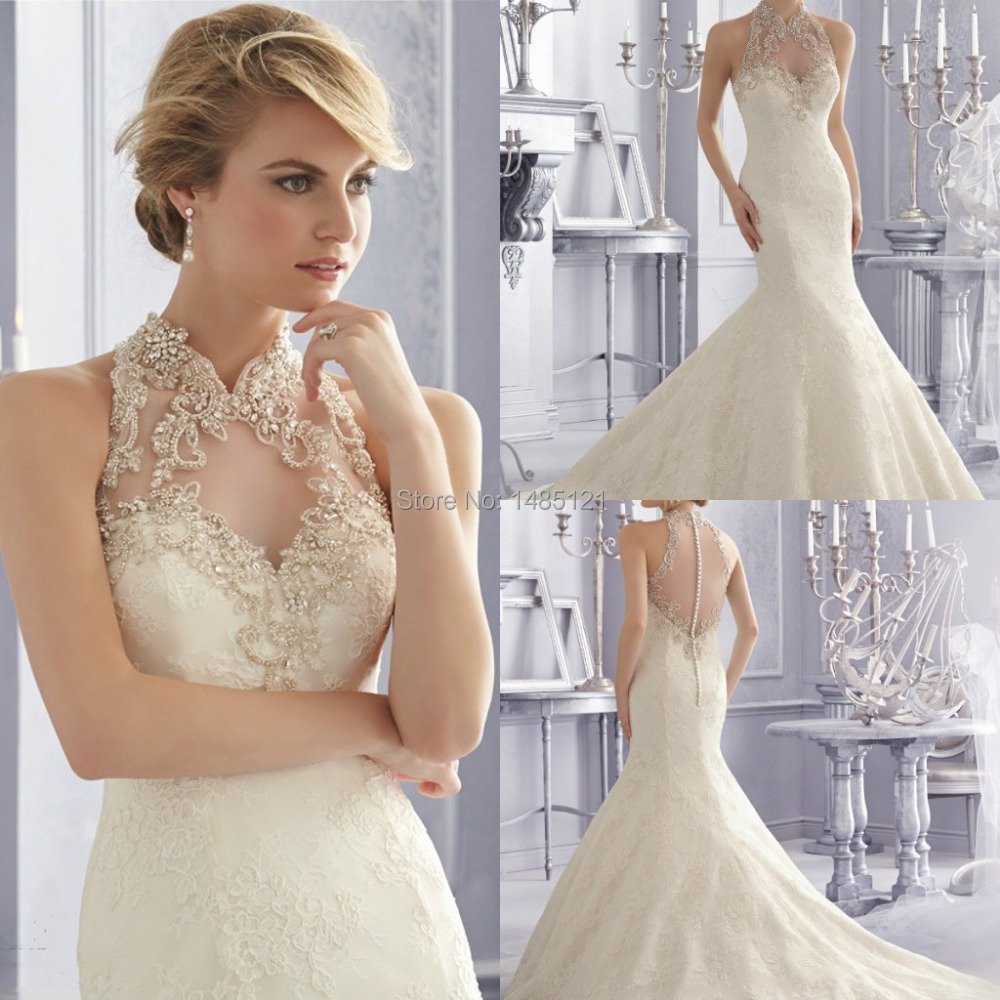 Vestido de noiva 2015 vintage bridal gowns high collar for High collared wedding dress
