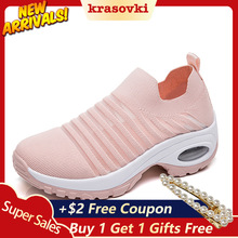 Krasovki Women Casual Shoes Slip on Sneakers Slipony Flying Knitting Breathable Platform Increased Soft Bottom Female