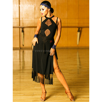 High Quality Latin Ballrom Cha Cha Dance Sport Dress Black Peacock Blue Competitive Latino Dress For Dance UA77