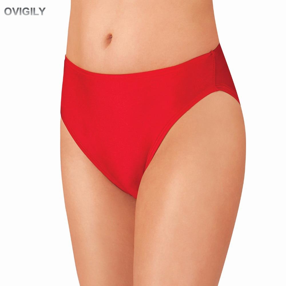 OVIGILY Red Adults Spandex Dance Shorts Womens High Leg Cut Jazz Underwear Lycra Booty Shorts Girls Fitness Shorts Ballet Show