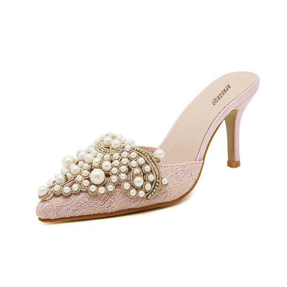 7c6230cd3696f6 Sandals 2017 Pearl Stiletto Mules Slipper Crystal Shoes Women Lace ...