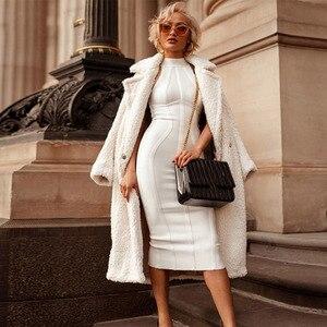 Image 2 - Seamyla Sexy Women White Bandage Dress 2020 New Arrivals Striped Midi Bodycon Dresses Sleeveless Clubwear Party Dress Vestidos