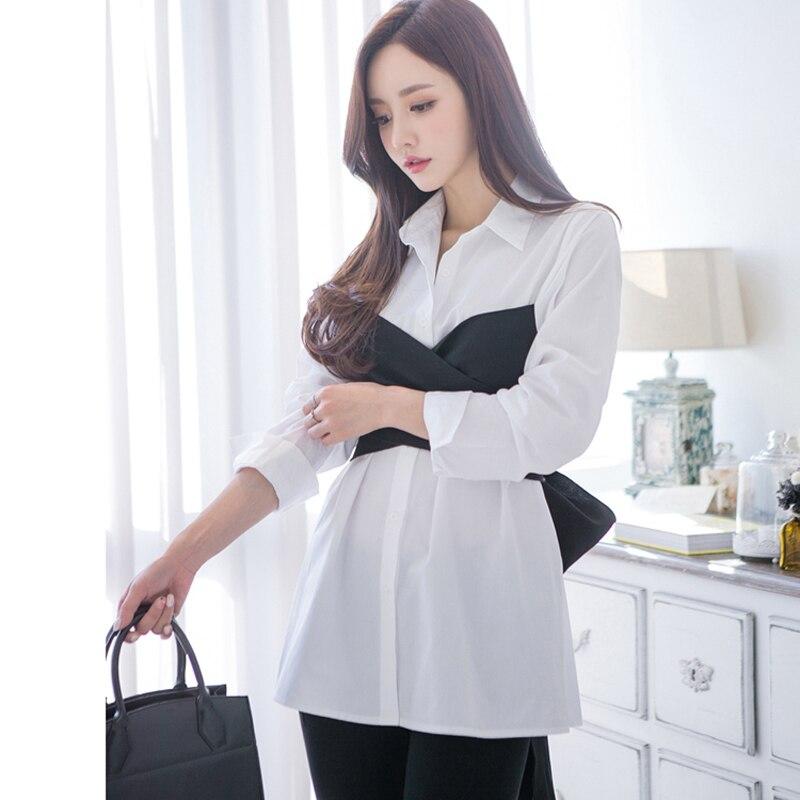 [OL] 2017 Autumn New Korea Fake Two Pieces Cotton Bow Irregular Patchwork Tight Waist Sexy Woman Shirt Fashion Blouse Loose Z014