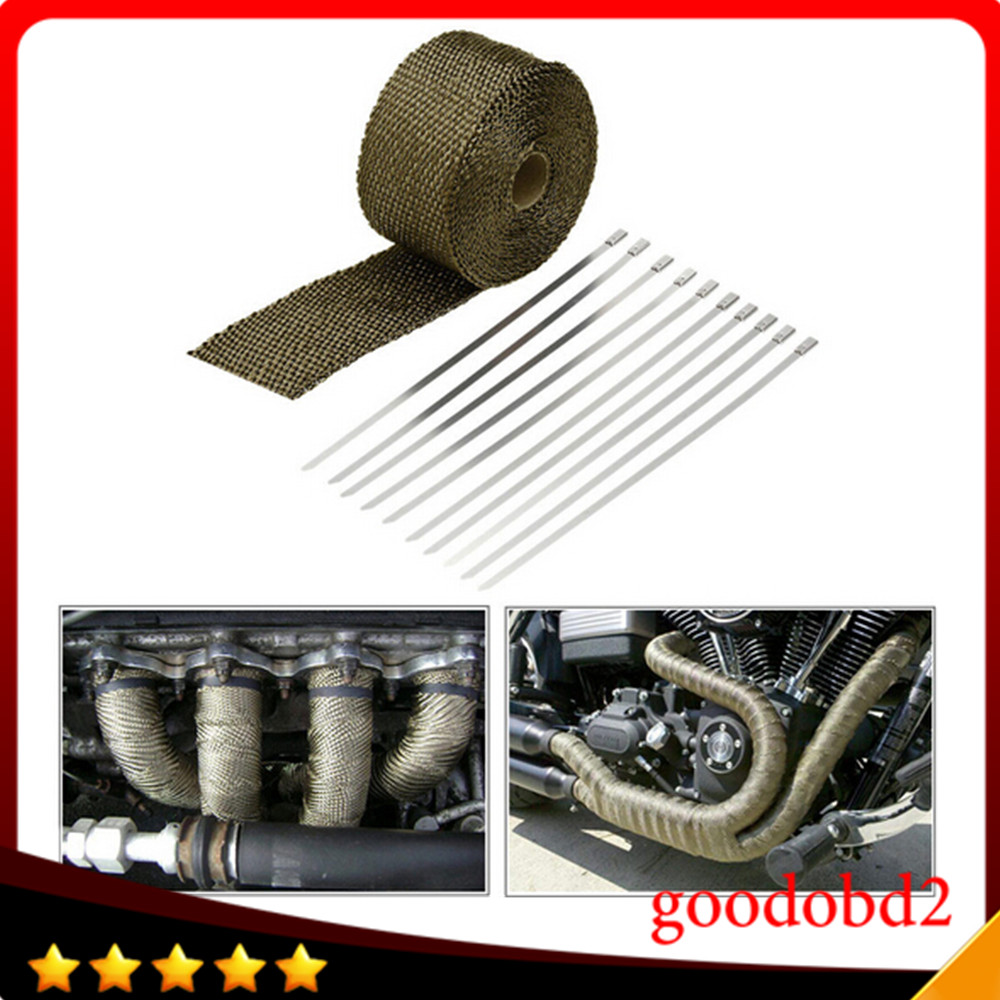 10m Heat Wrap Exhaust Manifold Downpipe 10x Ties for Car Motorcycle